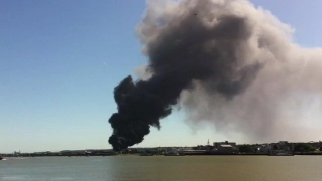 Plumes of smoke from a fire in Gravesend