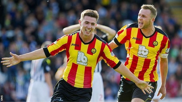 Ross Forbes wheels away after scoring the winner for Partick Thistle