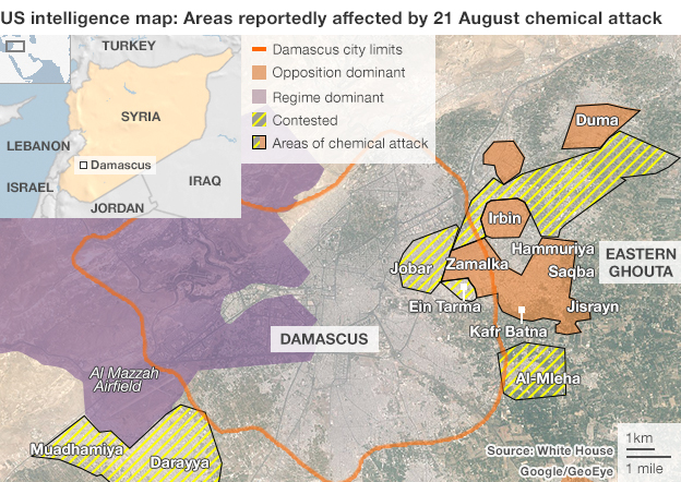 US intelligence map of areas reportedly affected by 21 August chemical attack