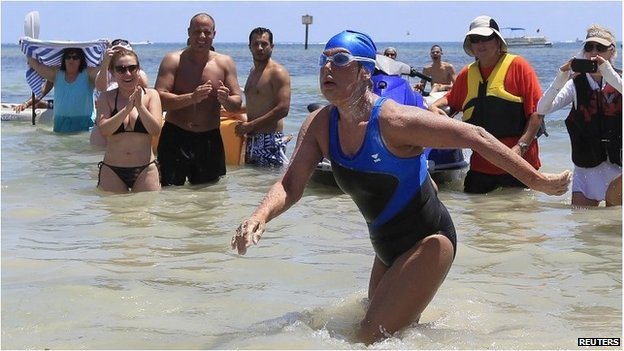 Diana Nyad walks on to the beach in Key West, Florida, on 2 September 2013