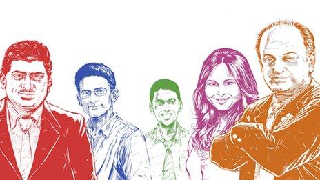 (From left) Nandan Nilekani, Ben Gomes, Rikin Gandhi, Ruchi Sanghvi and Sanjeev Bikhchandani - Illustrators: Sumit Kumar)