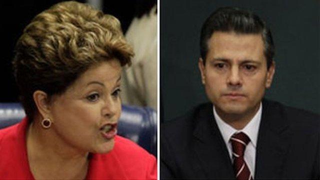 Brazilian President Dilma Rousseff and Mexican President Enrique Pena Nieto