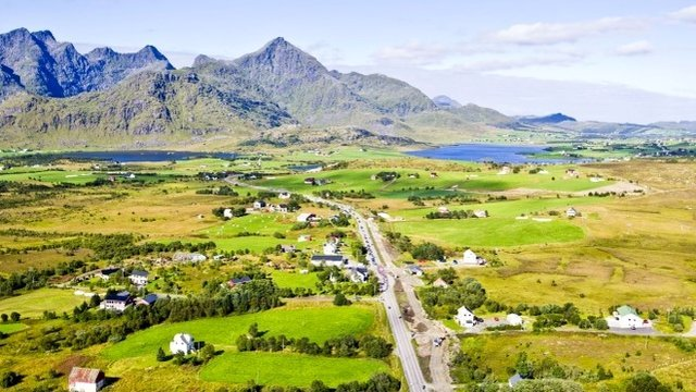 An aerial shot of Norwegian countryside