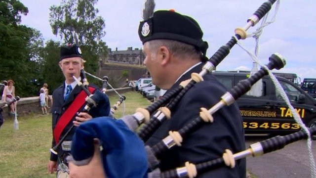 Bagpipers from New Zealand
