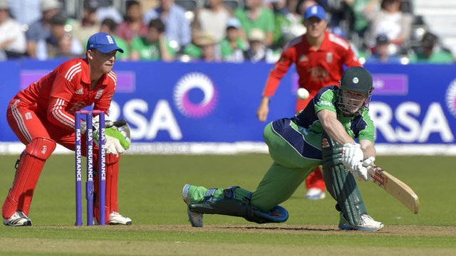 Match action from Ireland against England in a One Day International at Malahide