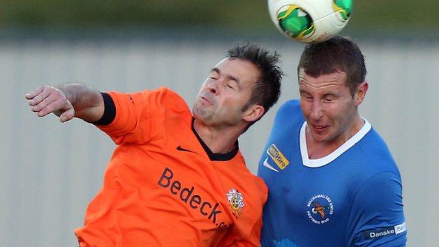 Match action from Ballinamallard against Glenavon