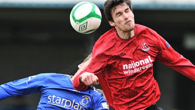 Crusaders Declan Caddell in action against Dungannon Swifts