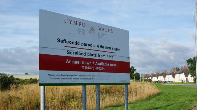 Welsh government sign at Wrexham prison site