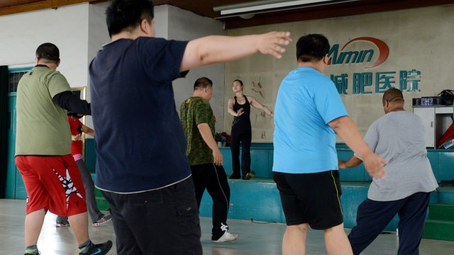 Fitness class in China