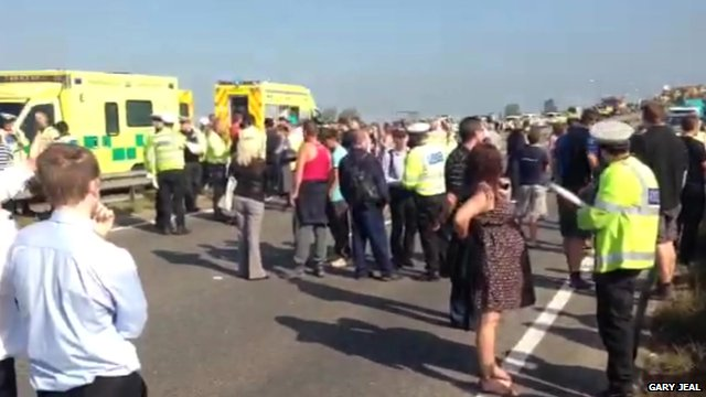 Amateur footage shows the immediate aftermath of the collisions,
