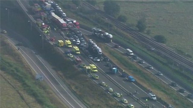 Aerial footage shows the aftermath of the collisions, which happened in  thick fog