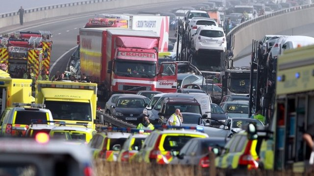 Vehicles piled up in Sheppey crash