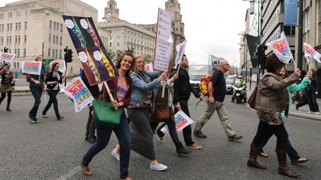 Teachers on strike - file image