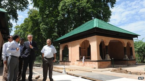 German ambassador to India, Michael Steiner (2R) inspects the Mughal Gardens Shalimar, the venue of a orchestral concert to be conducted by famed musician Zubin Mehta, in Srinagar on 3 August 2013