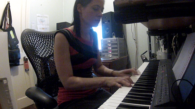 LJ Rich composing a song for a crowdwork job