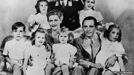 German Nazi politician and minister of propaganda Joseph Goebbels with his wife Magda and their children, Helga, Hildegard, Helmut, Hedwig, Holdine and Heidrun - 1942