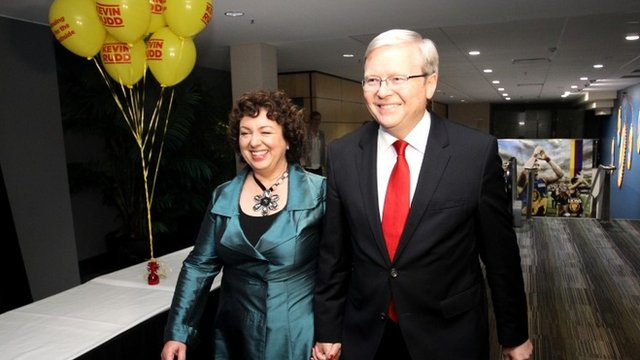 Kevin Rudd and his wife Therese Rein arrive at The Gabba, Brisbane, for Rudd to give a speech conceding election defeat