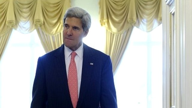 US Secretary of State John Kerry at the Presidential Palace in Vilnius, Lithuania