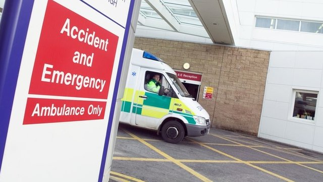 An ambulance near and Accident and Emergency sign