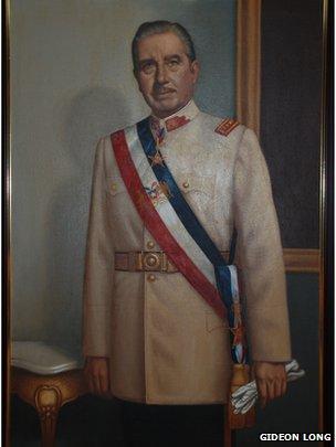 A portrait of Gen August Pinochet in the Pinochet museum in Santiago in September 2013