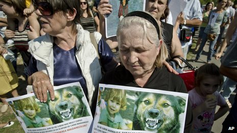 Grandmother of boy killed by dogs protests at Bucharest rally, 8 Sep 13