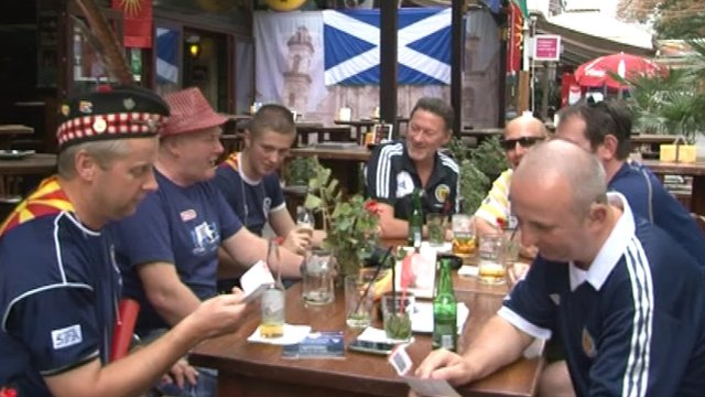 A group of Scotland fans in Macedonia