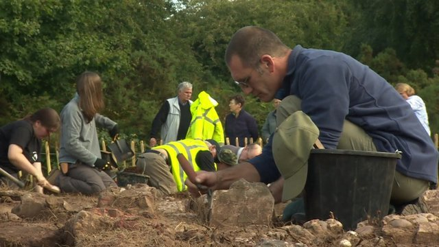 Archaeologists excavating a site in Staffordshire