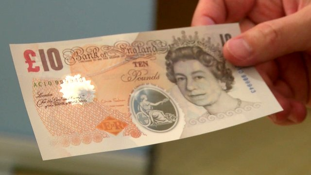 A sample polymer Bank of England £10 note