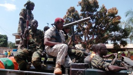 Seleka soldiers from the ruling rebel coalition leave the capital Bangui on September 10, 2013