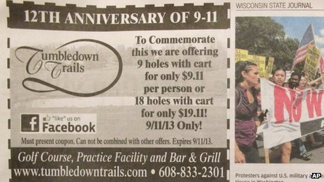 Photo of an advertisement that appeared in the Wisconsin State Journal on Monday 9 September 2013, offering nine holes of golf for $9.11 to mark the anniversary of the 9/11 attacks.