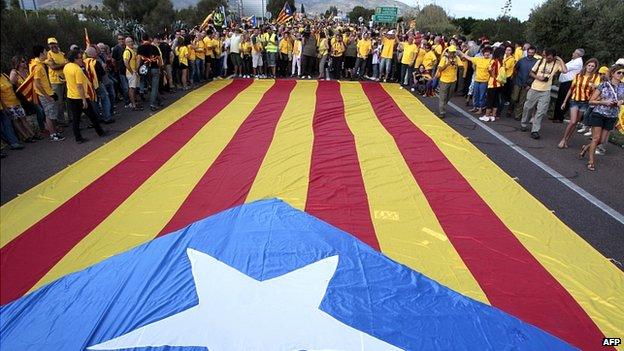 Catalan flag in in Alcanar. 11 Sept 2013