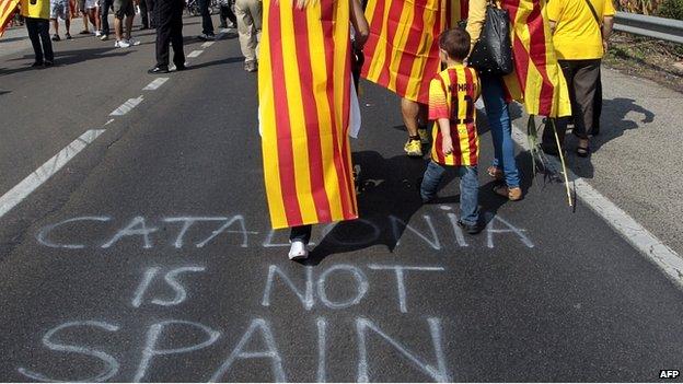 Slogan daubed on road in Alcanar