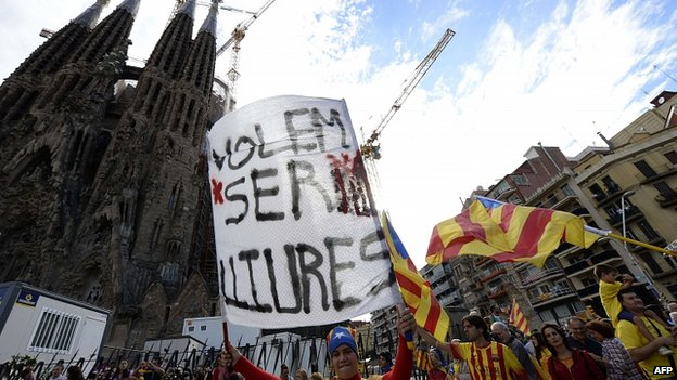 Protest outside the Sagrada Familia basilica in Barcelona. 11 Sept 2013