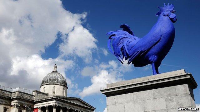 Blue cockerel on fourth plinth in Trafalgar Square