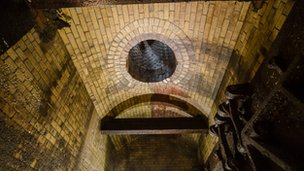 The ceiling of one of the Victorian sewers