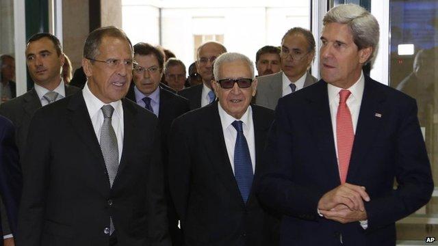 Sergei Lavrov, Lakhdar Brahimi and John Kerry on Friday 13 September