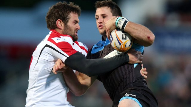 Action from Ulster against Glasgow in the Pro12 at Ravenhill