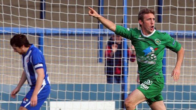 Andy Crawford celebrates scoring against Coleraine