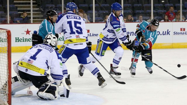Action from Belfast Giants against Coventry Blaze at the Odyssey Arena