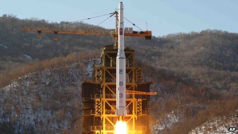 In this 12 December 2012 file photo released by Korean Central News Agency, North Korea's Unha-3 rocket lifts off from the Sohae launch pad in Tongchang-ri, North Korea