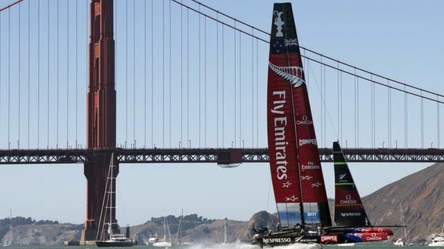 Team New Zealand sails near the Golden Gate Bridge