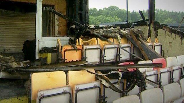 The fire-damaged Maesteg RFC stand