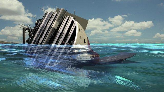 Graphic showing underwater platform beneath the Costa Concordia