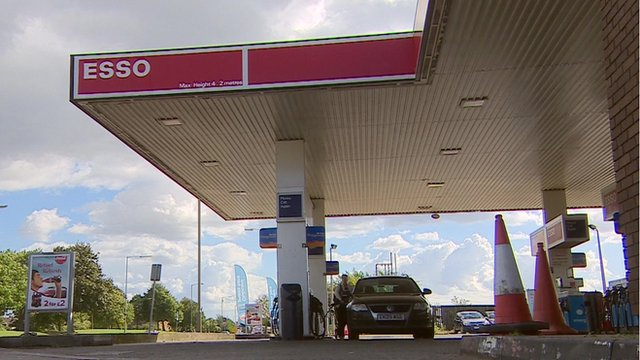 A petrol station forecourt