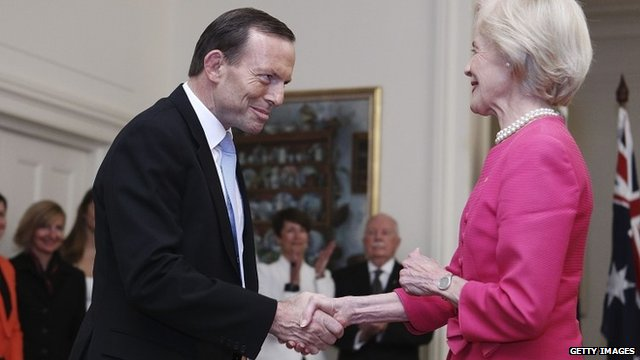 Tony Abbott and Quentin Bryce