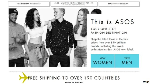 The ASOS fashion website