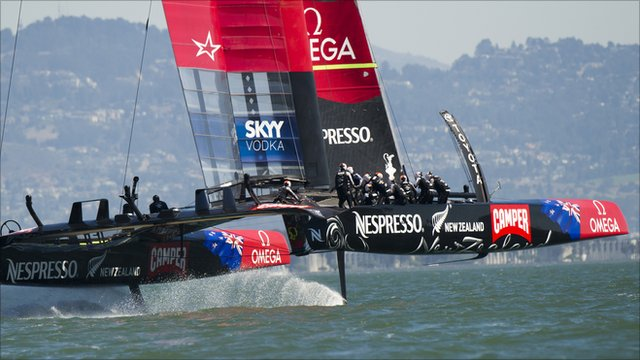 Emirates Team New Zealand races down wind during the 34th America's Cup in San Francisco.