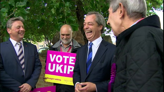 Nigel Farage with UKIP supporters in Essex
