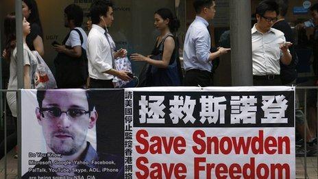 Snowden banner in Hong Kong