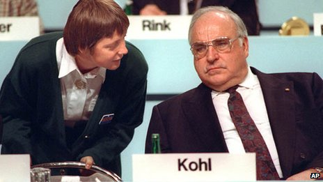Angela Merkel and Helmut Kohl 1991
